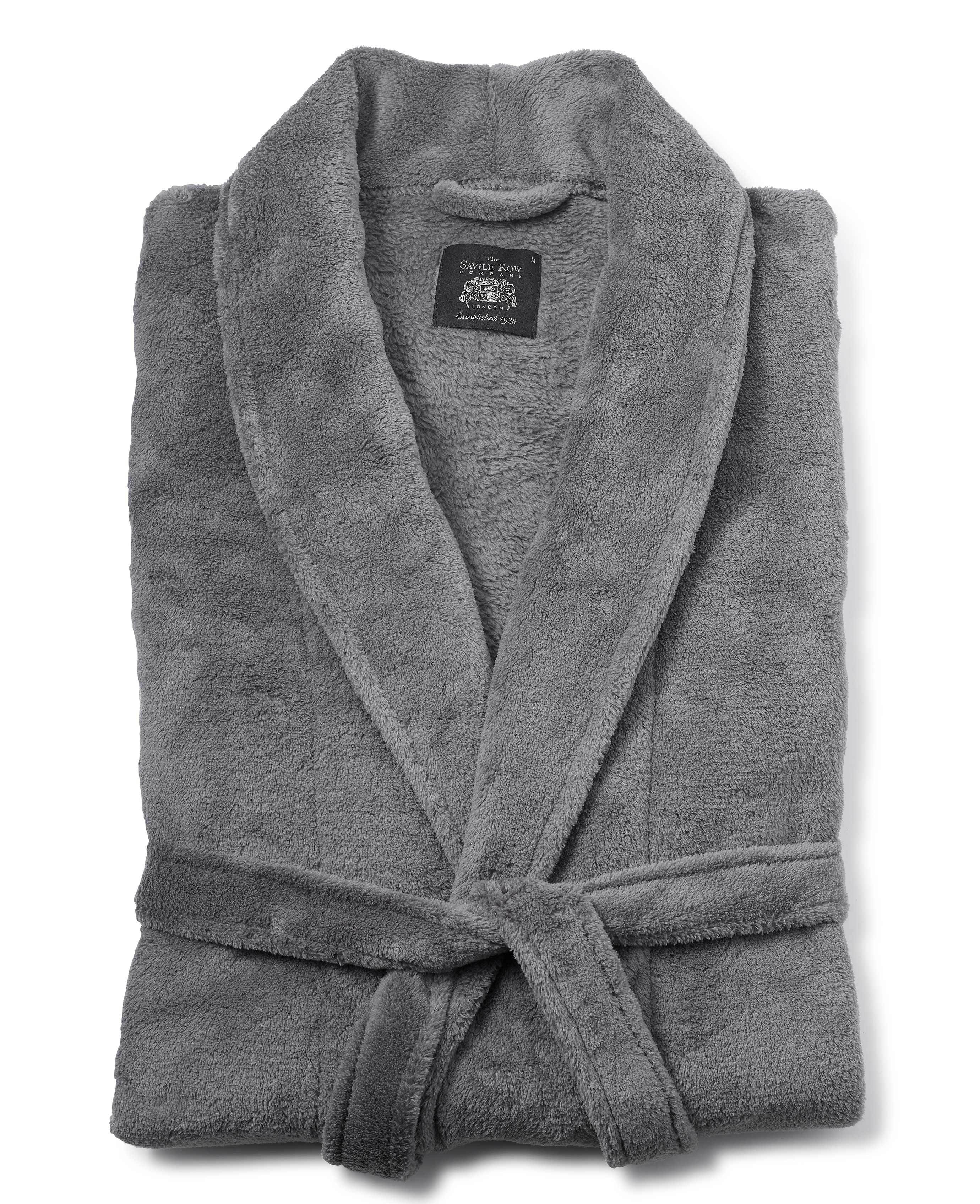 Men\'s grey fleece dressing gown from The Savile Row Company ...