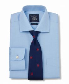 Click to view product details and reviews for Blue Fine Herringbone Classic Fit Shirt Single Cuff 19 Standard.