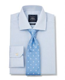 Click to view product details and reviews for White Blue Poplin Check Slim Fit Shirt Single Mitred Cuff 17 1 2 Standard.