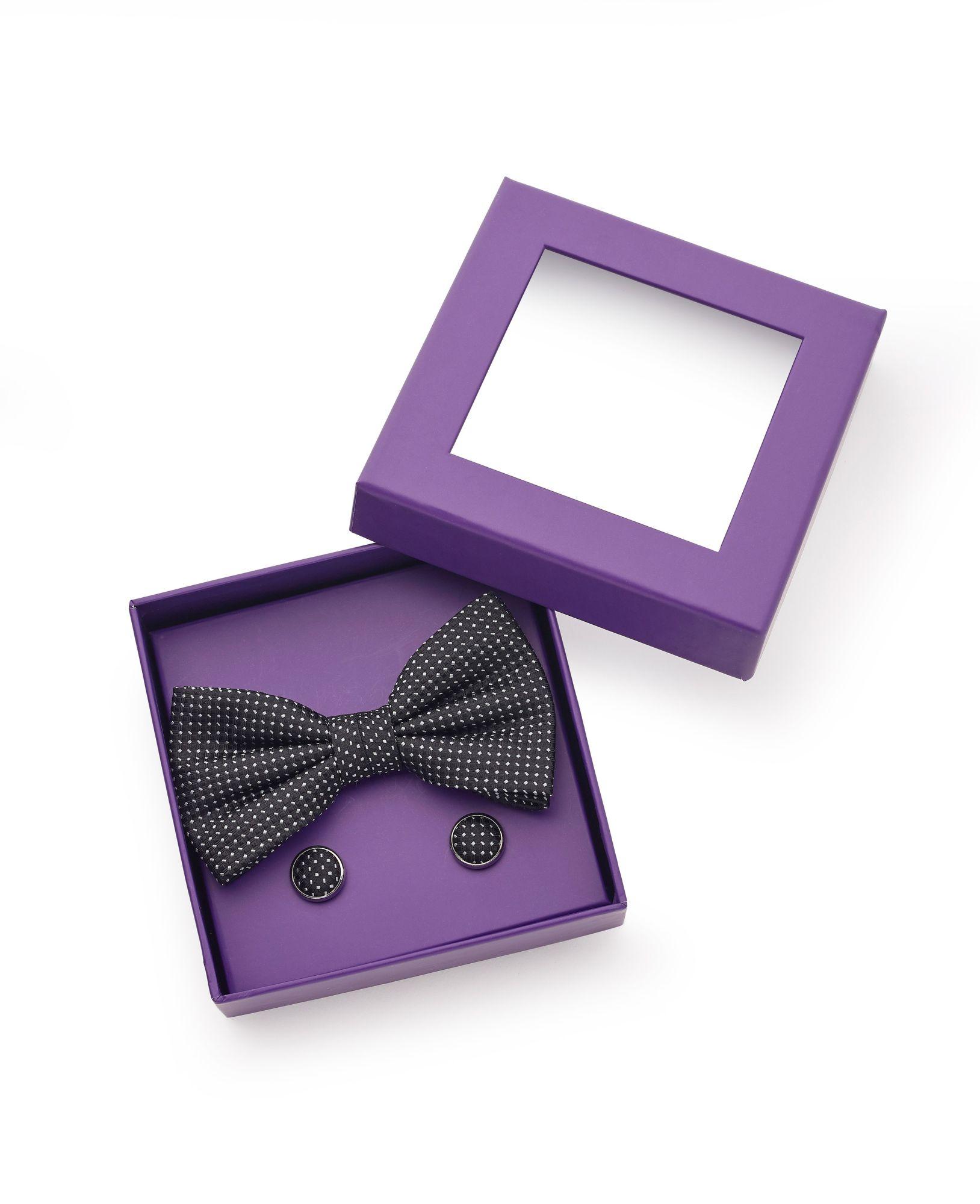 Black White Abstract Pattern Silk Bow Tie & Cufflink Set
