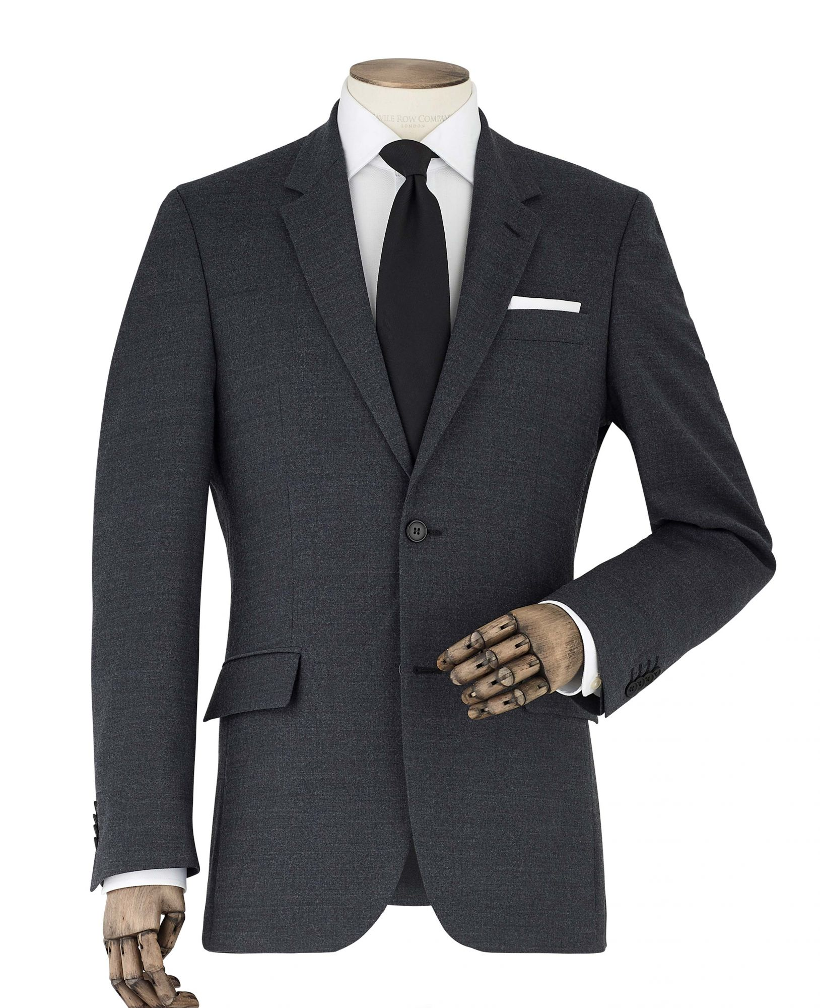 Men's Suits Dark Grey Wool-Blend Tailored Suit Jacket 36