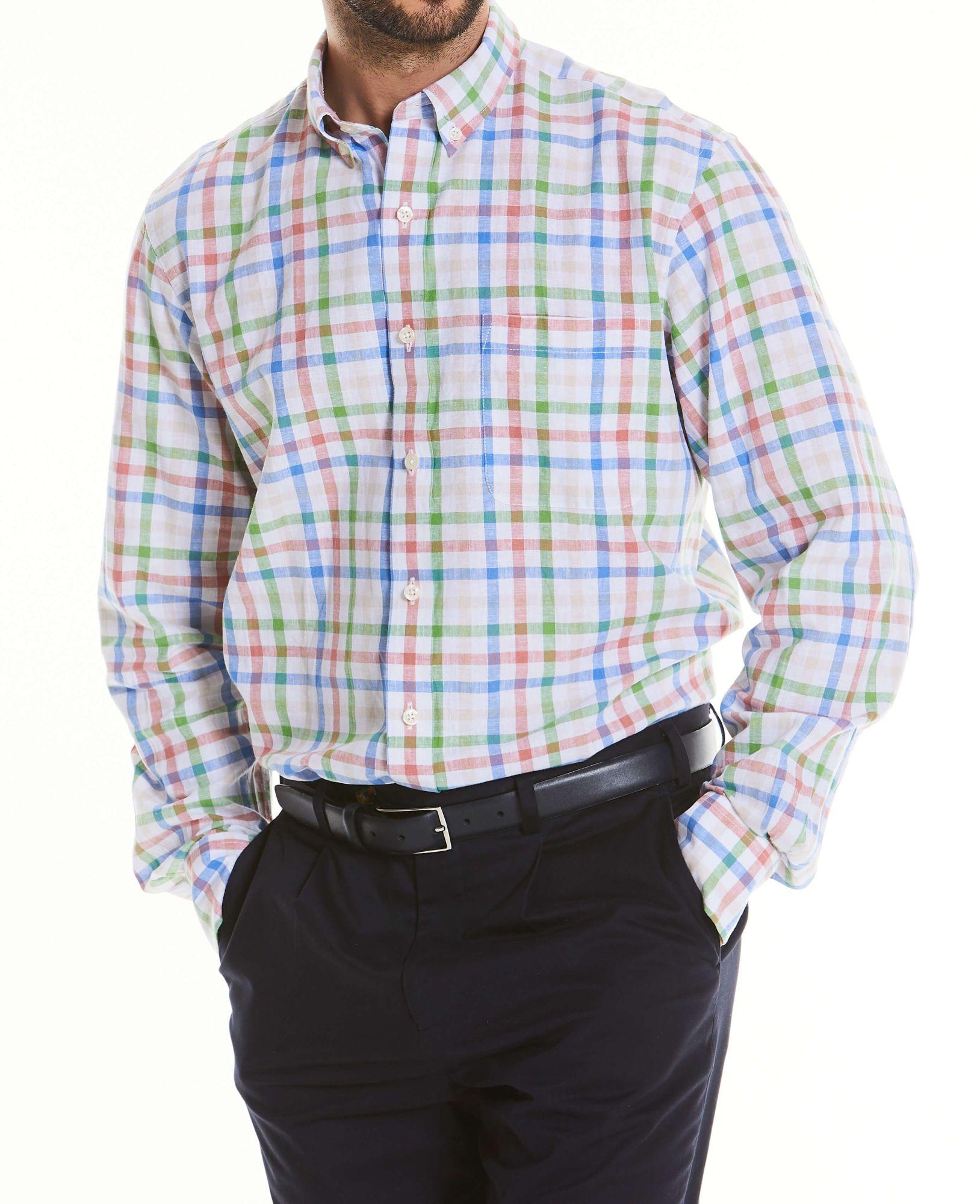 Men's Tops Multi Check Linen-Blend Shirt XXL Standard