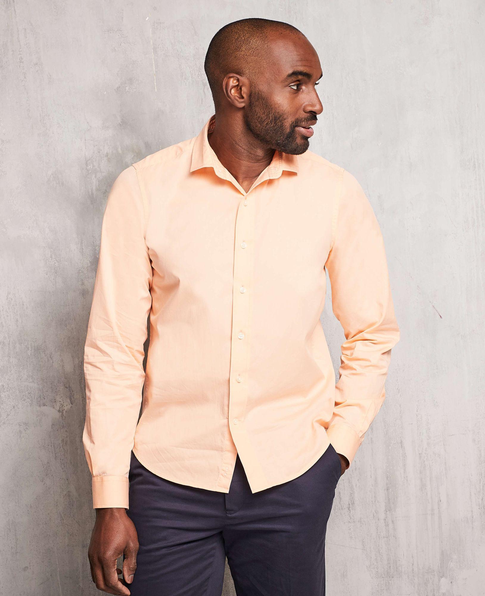 Men's Tops Peach Twill Slim Fit Shirt in Shorter Length M Lengthen by 2