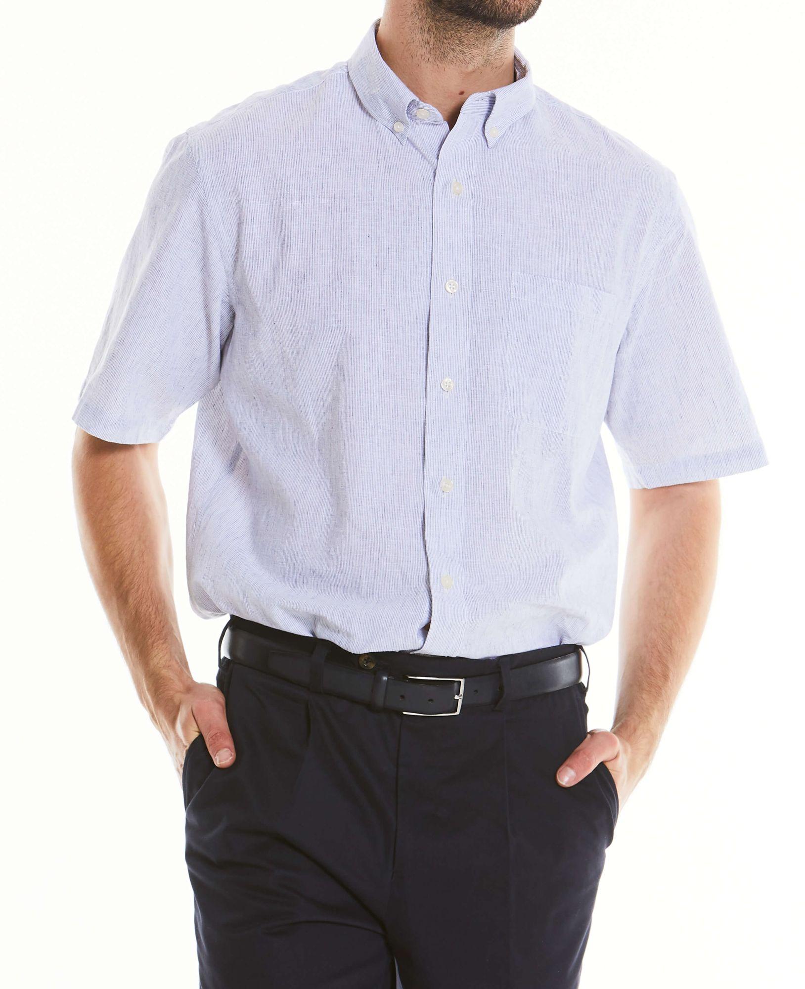 Men's Tops White Navy Stripe Linen-Blend Short Sleeve Shirt XXL