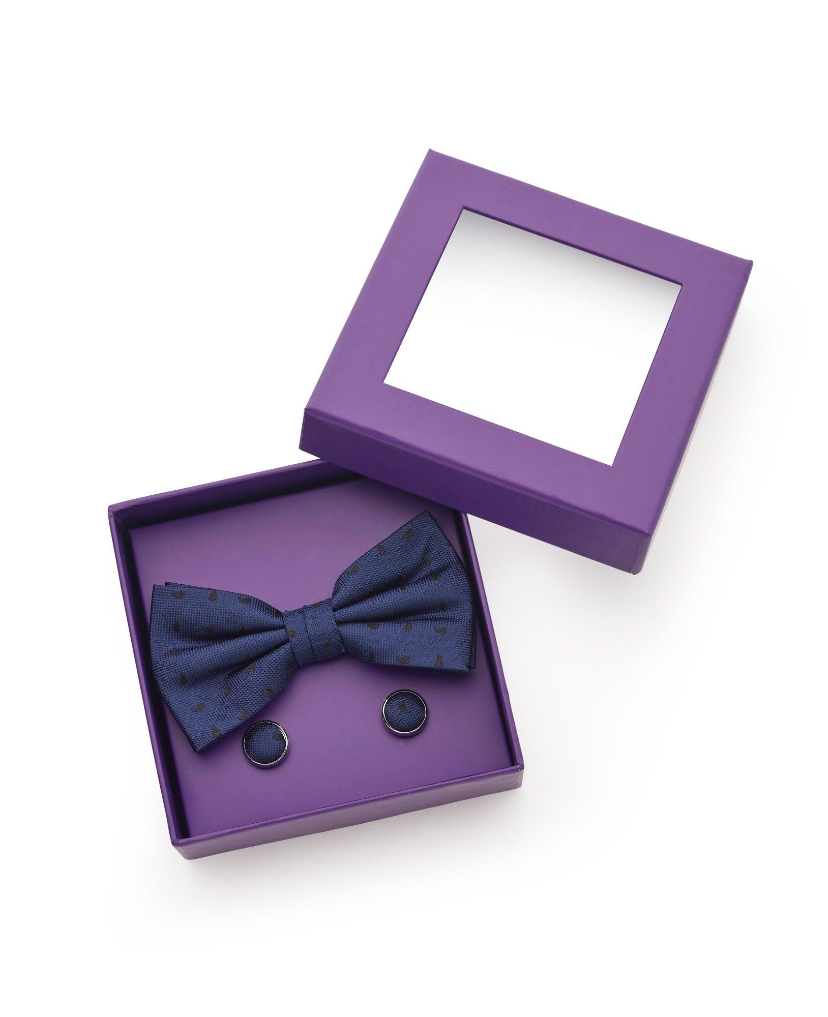 Navy Black Paisley Silk Bow Tie & Cufflink Set