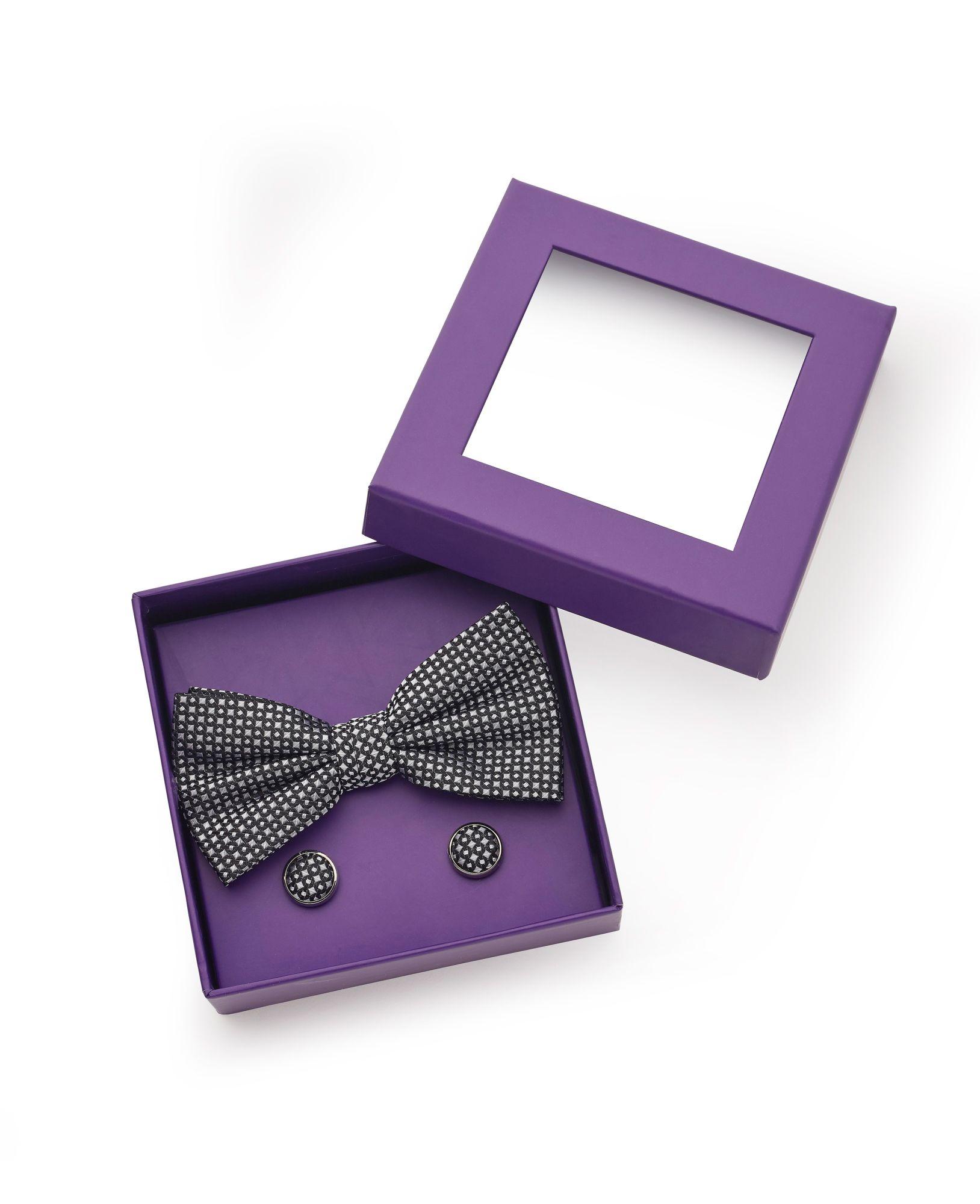 Navy Patterned Silk Bow Tie & Cufflink Set