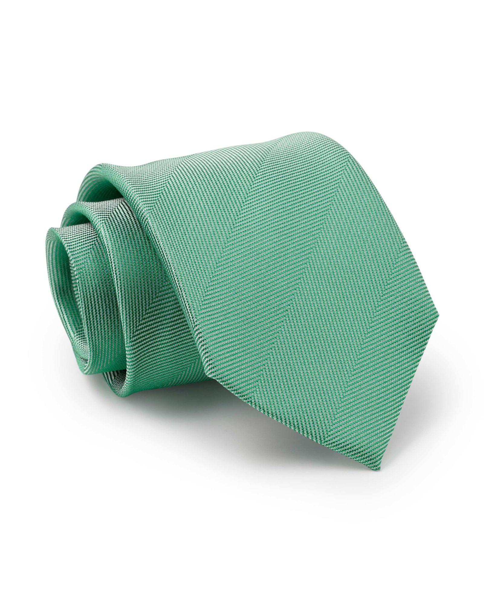 Pale Green Wide Herringbone Silk Tie