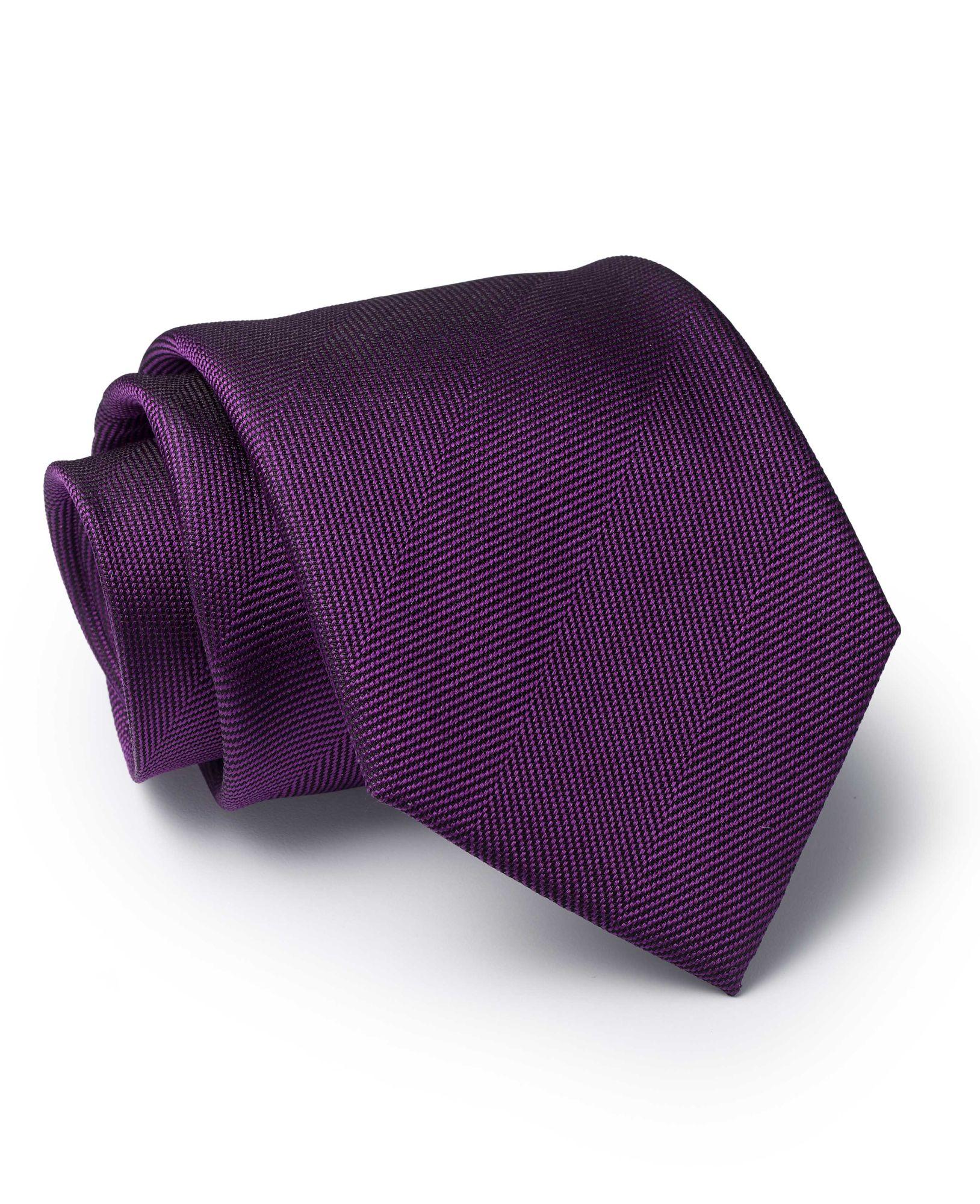 Purple Large Herringbone Silk Tie
