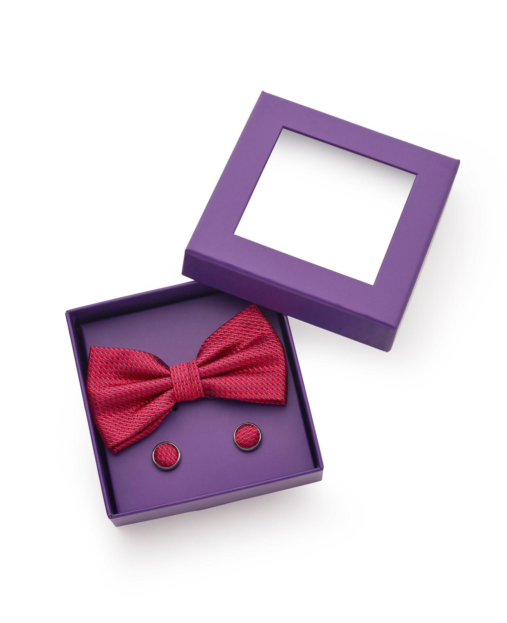 Red Blue Basket Weave Silk Bow Tie & Cufflink Set