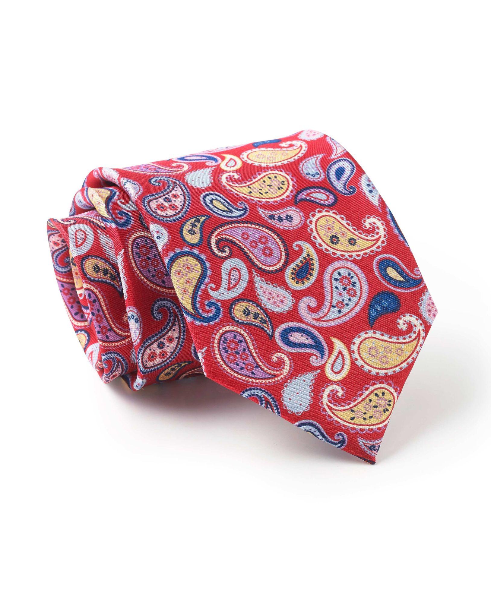Red Paisley Pattern Silk Tie