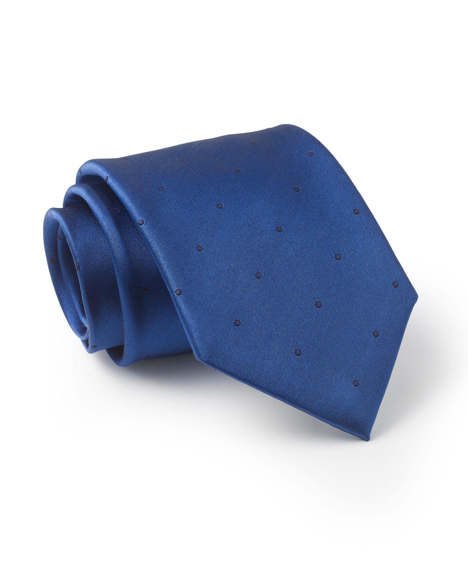 Royal Blue Navy Spot Silk Tie
